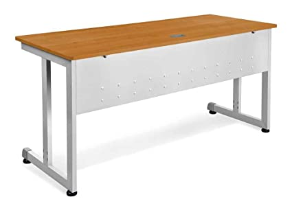 OFM Modular Training Desk With Wheels   Contemporary Durable Office Table,  Cherry, 24u0026quot;