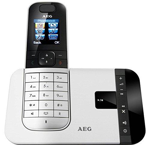 AEG VOXTEL D575 schnurloses DECT-Telefon mit Anrufbeantworter bis zu 30 min Aufnahme und 1,8 Zoll (4,6 cm) großem Farbdisplay
