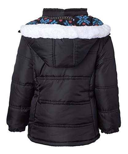 Pink Platinum Little Girls Hooded Winter Bubble Jacket Coat Matching Hat & Scarf, Black, 4 by Pink Platinum (Image #3)
