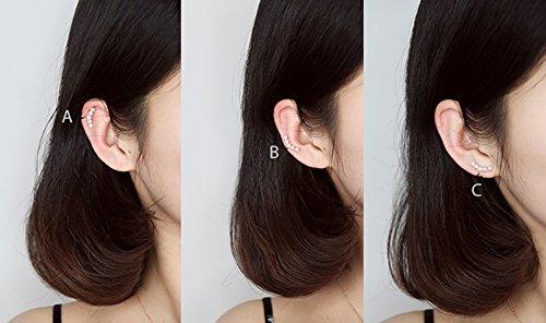 Aifeer Sterling Silver Non Pierced Ear Stud Earrings 5 Pearls Wrap Cuff Clip On Ear Clamp (A Pair) by Aifeer (Image #5)