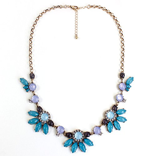 Choker Necklace Fashion Green Flower Bubble Bib Chain Statement Necklaces for Women (Pastel Flower Necklace)