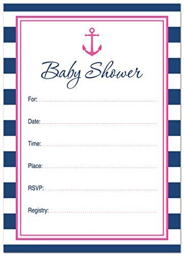 24 Cnt Hot Pink Nautical Fill-in Baby Shower Invitations