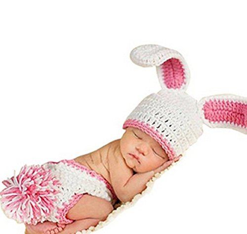 Ufraky Newborn Baby Crochet Knitted Photography Props Bunny Rabbit Hat Diaper Costume White