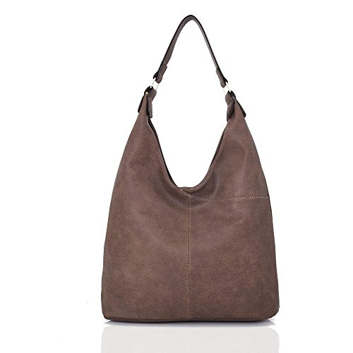 and Look Gorgeous Handbag Soft Slouch Bag Ladies Brown Shoulder Leather Tote wgPHY