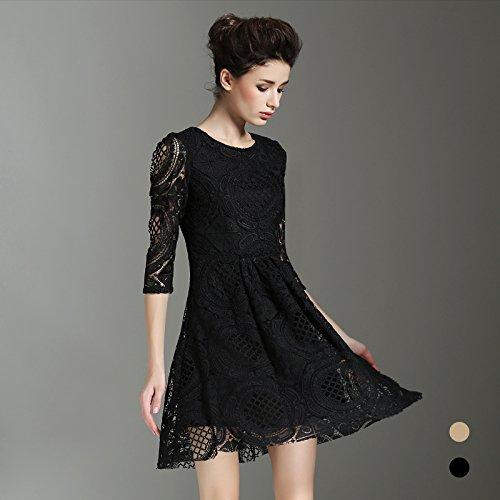 Shirt Encajes La T ZHUDJ Bordados Verano Y black Vestido El Primavera T4fTz1qF0