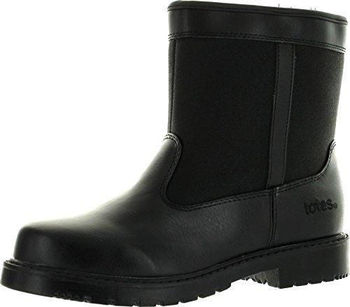 totes Stadium Mens Waterproof Insulated Side Zip Winter Snow Boot Black,Black,8W