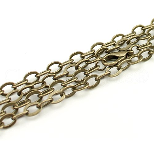 CleverDelights 20 Pack 5x7mm Flat Oval Link Necklaces - Antique Bronze Color - 24 Inch - Vintage Style Chains