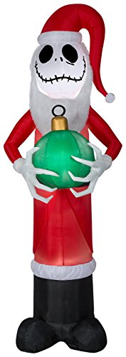 Disney Media Storage (Gemmy 8' Airblown Mixed Media Jack Skellington as Santa w/Fuzzy Beard Disney Christmas Inflatable)