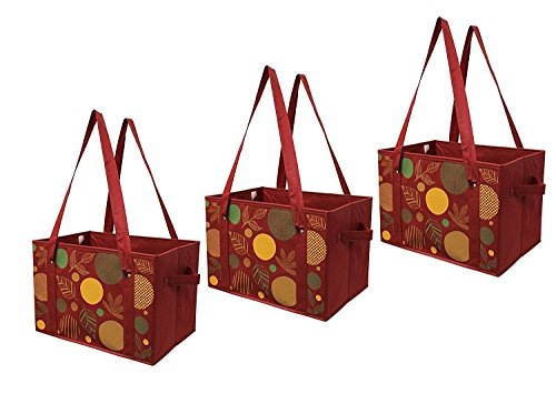Earthwise Reusable Grocery Shopping Box Bag with REINFORCED BOTTOM Deluxe COLLAPSIBLE Tote Thanksgiving Fall Print (Set of 3)