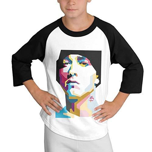 YUNLIHO Geek Customized Eminem On The MIC Baseball T Shirt Long Sleeve for Adolescent Black L