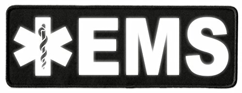 Twill Ems - EMS Star of Life ID Patch - 11x4 - Reflective Lettering - Black Twill Backing - Hook Backing