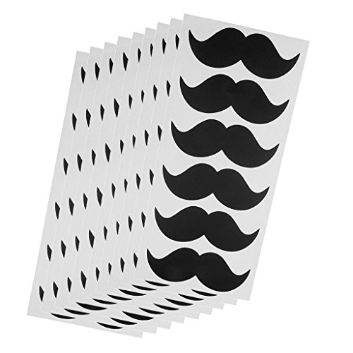DYNWAVE Pack-54 Black Mustache Stickers for Baby Shower