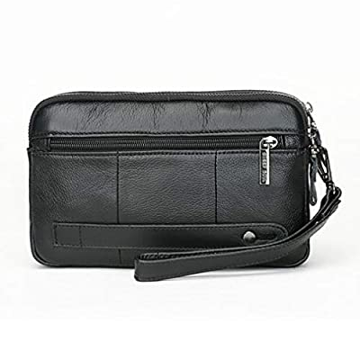Men Leather Clutch Purse Wallet Wristlet Zipper Organizer Holder Wrist Bag Pack