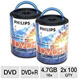 Two PHILIPS 100PK 16X DVD+R Spindles