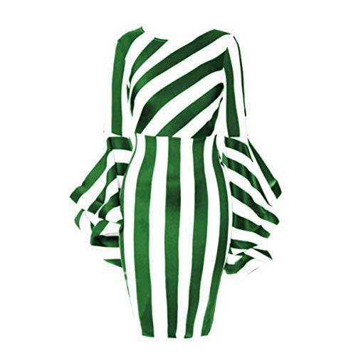 Womens Round Neck Fashion Long Sleeve High Waist Bodycon Knee Length Dress Green XL