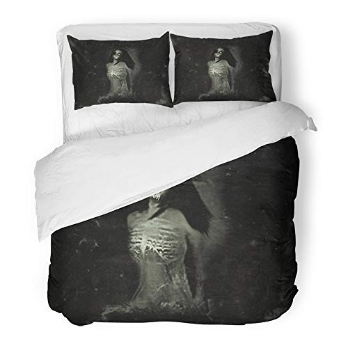 Emvency 3 Piece Duvet Cover Set Brushed Microfiber Fabric Breathable Anger Horror Spooky with Scary Ghost Woman Halloween Anxiety Apocalypse Corpse Bedding Set with 2 Pillow Covers King -