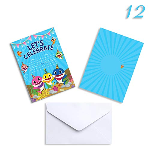 (12 Birthday Invitations with Stickers Envelopes, Baby Shower Party Invitation Invites Cards for 1st Girls or Boys for Baby Cute Shark)