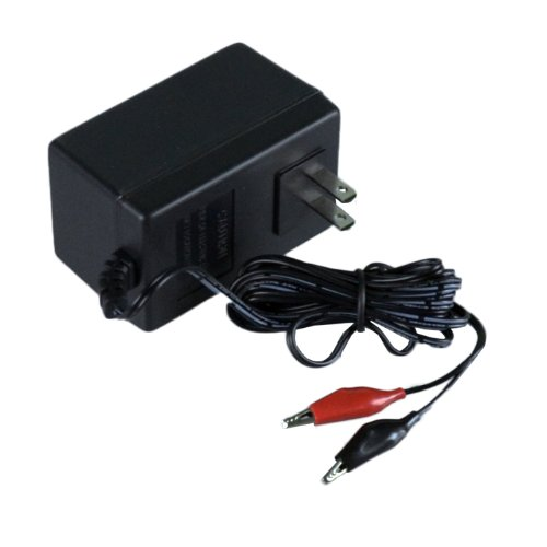 6-Volt 1000mA Charger AC Power Supply for Sealed Lead Avid (SLA) Batteries with Alligator ()