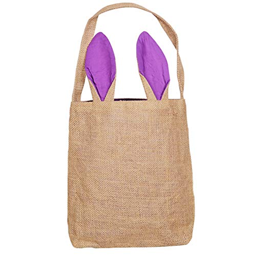 Easter Egg Basket for Girls Bunny Baskets with Cross-Stitch Line Burlap Gift Bag Purple Tote Jute Bags for Embroidery DIY Daily Use FH01PR