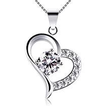 B.Catcher Heart Necklace 925 Sterling Silver Valentines Gift Cubic Zirconia Pendant Necklaces,18""