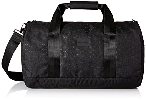 Armani Exchange Men's Light Weight Dobby Nylon All Over Logo Duffle Weekender Bag, Black, One - Armani Bag Men