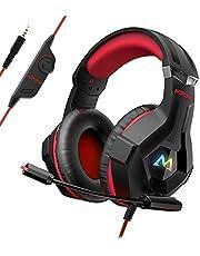 Mpow EG9-Rot Gaming Kopfhörer für PC PS4 Xbox One, 7 Farbe RGB-LED Licht, Surround-Sound Gaming Headset mit Mikrofon, Super Leicht Headset Over-Ear-Gaming Kopfhörer für Computer Mac Handy Nintendo