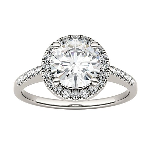14K White Gold Moissanite by Charles & Colvard 7.5mm Round Halo Engagement Ring-size 7, 1.82cttw DEW