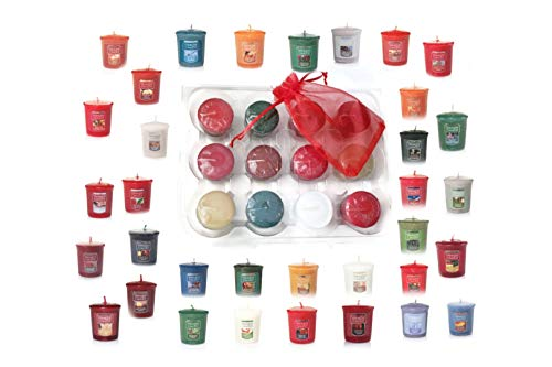 Yankee Candle Fall and Winter Votive Samplers in Storage Container Gift Box Plus Bonus Organza Sachet Bag - Autumn and Christmas Scent Bundle (Winter Votive Candles)