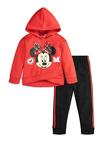 Disney Minnie Mouse Baby Girls' Long Sleeve Fleece Sweatshirt Top & Leggings Set, Red 12 Months
