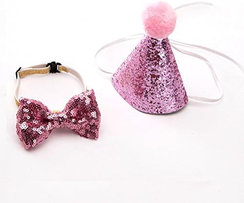 UEETEK 애완 동물 생일 모자 강아지 생일 모자 나비 넥타이 코스 프레 애완 동물 생일 케이크 (랜덤 칼라) / UEETEK Pet Birthday Hat Dog Birthday Hat Bow Tie Cosplay Pet Birthday Goods (Random Color)
