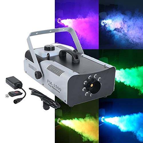 Tengchang 1500 Watt Smoke Fog Machine 9 LED Lights Remote Control Halloween DJ Party Stage Fogger -