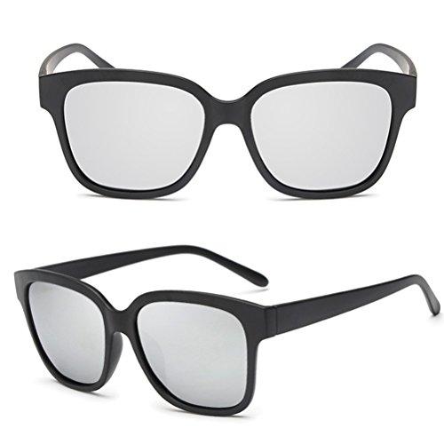 Case Silver Zhuhaijq with Gafas Sol Retro de ligero De Lens Gafas Hombres for Black Mujers Frame Polarizadas sol Sand r1Owr