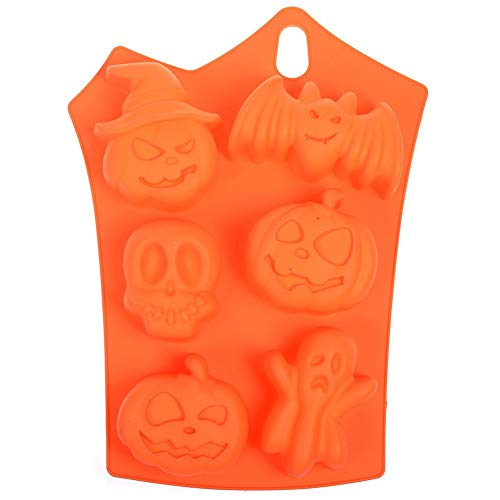 (Fashionme 6 Cavity Halloween Party Bat Pumpkin Face Skull Ghost Shaped Fondant Cake Pudding Chocolate Jelly Ice Cube Tray Soap Silicone DIY Mold Heat Resistant Horrific Funny)