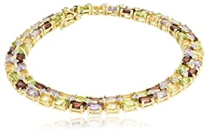 """18k Yellow Gold Plated Sterling Silver Multi-Gemstone and Diamond Bracelet, 8.25"""" from Amazon Curated Collection"""