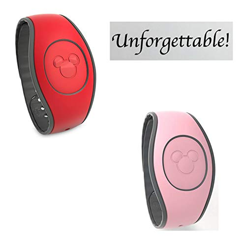 (Disney Magic Band red and Disney Magic Band Pink and The Paper Studio Card (3 Items))