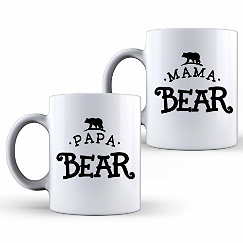 Shop4Ever Papa Bear & Mama Bear Novelty Ceramic Coffee Mug Tea Cup Gift (White, Set of 2) 2 Tea Mugs