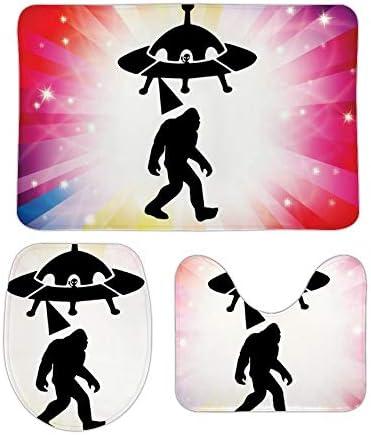 Bigfoot UFO Alien サンゴベルベットノンスリップ3ピースバスルームカーペットラグ、バスルームラグ/輪郭マット/トイレカバー