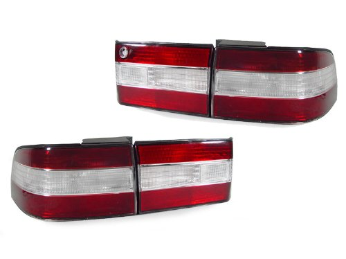 DEPO 1991-1994 Lexus LS400 LS 400 4pcs JDM Look Red Clear Tail Lights Set
