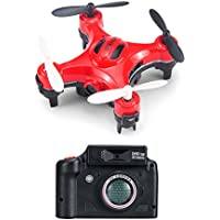 RC Quadcopter Drone RC Pocket Drone Original D2 2.4G 4CH 6-Axis Gyro RC mini Quadcopter RTF Pocket Drone with 2MP Camera One-key Return Headless mode 3D-flip Helicopter Funny Outdoor Sport Toy (Red)