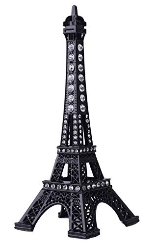 JoyFamily Eiffel Tower Cake Topper, 7 Inch (18 cm) Metal Paris Eiffel Tower Decor Statue Figurine Replica Drawing Room Table Decor for Gifts, Party and Home Decoration (Black) (Cake Toppers Paris)