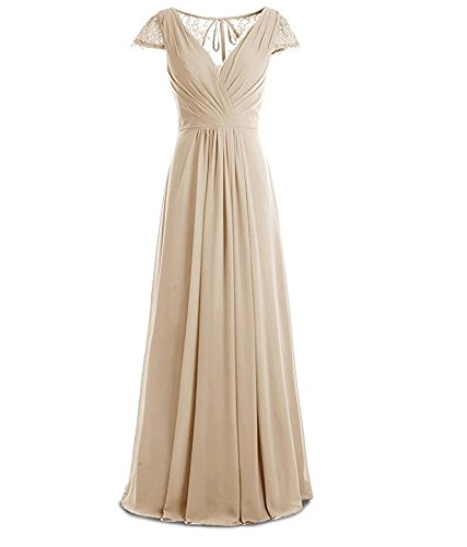 Champagne Bridesmaid Long Chiffon Prom Neck Beauty Back Gown Women's V Lace AK Dresses 4R7qxZ