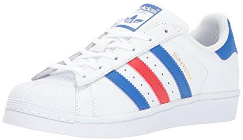 Adidas Originals Superstar J, Ftwwht,Blue,Red, 4 Medium US