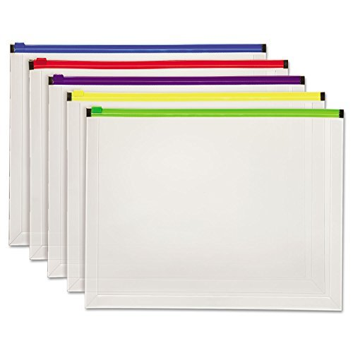 GLOBE-WEIS Poly Zip Envelope, Letter, Open Side, Assorted...