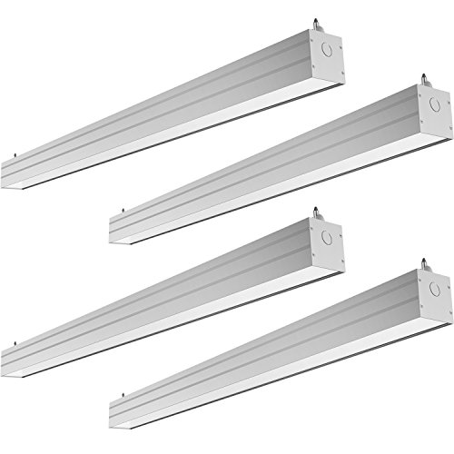 Fluorescent Linkable Fixture - Hykolity 4FT 40W Linkable LED Architectural Suspended Linear Channel Light, Contemporary Design Style Lighting Fixture for Offices, Studios and Commercial Places, 4600lm 5000K Daylight 4 Pack