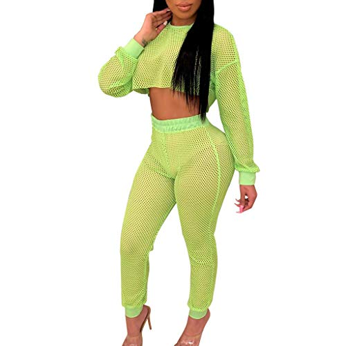 Women Two Piece Outfits Sets Long Sleeve Sexy See Through Mesh Crop Top with High Waist Bandage Bodycon Long Leggings Summer Workout Club Party Nightwear Tracksuits Set