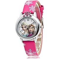 Cartoon Frozen Elsa and Anna Kids Leather quartz WristWatch for Girls, Rose Red