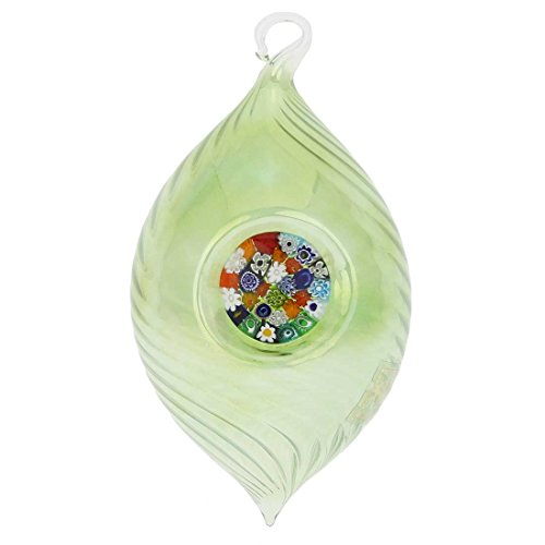 GlassOfVenice Murano Glass Christmas Ornament - Millefiori Green