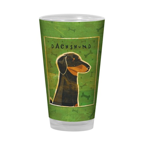 Tree-Free Greetings PG02982 John W. Golden Artful Alehouse Pint Glass, 16-Ounce, Black and Tan Dachshund