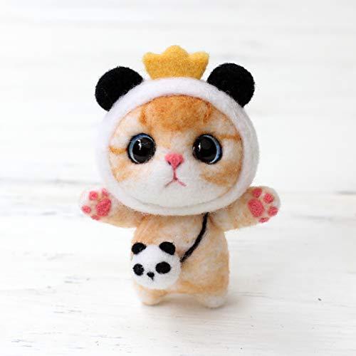 Dinfoger Needlecrafts Needle Felted Character Kit,Kitten Wool Felt Craft Animals,Felted Character Kit,Panda Cat