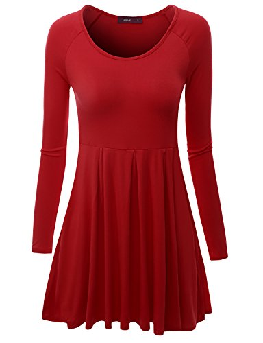Doublju Long Raglan Sleeve Scoop Neck Flare Tunic Dress Top for Women with Plus Size RED 2XL ()
